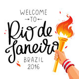 Gold Cup with a fire in his hand. Welcome to Rio de Janeiro. Vector illustration on white background. The trend calligraphy. Brazil 2016 Stock Photo