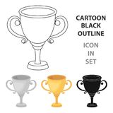 Gold Cup for the first place.The award winner of the racing competition.Awards and trophies single icon in cartoon style. Vector symbol stock web illustration Stock Photography