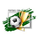 Gold cup with a football ball stock illustration