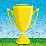 Gold cup on a green field. Award for winning a gold cup on a green field Royalty Free Stock Images