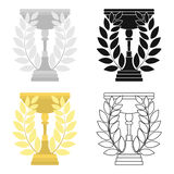 Gold cup icon in cartoon style  on white background. Winner cup symbol stock vector illustration. Royalty Free Stock Images