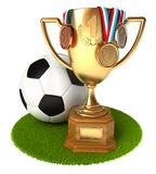 Gold Cup with medals and soccer ball Stock Photography