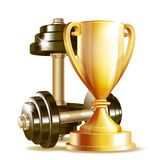 Gold cup with metal realistic dumbbells. stock illustration