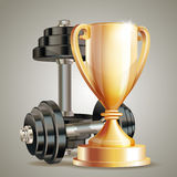 Gold cup with metal realistic dumbbells. Royalty Free Stock Image