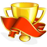 Gold cup with red ribbon Stock Images