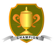 Gold cup with ribbon. Vector art of a Gold cup with ribbon Stock Photography