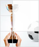 Gold cup and soccer ball Royalty Free Stock Photography