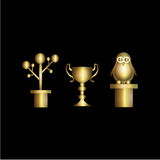 Gold Cup. Trophy, gold, championship, no 1, one, prosperity, greening, awards, animals, plants Stock Image
