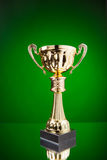 Gold cup trophy on green Stock Images