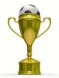 Gold cup winner with soccer ball Royalty Free Stock Photography