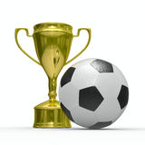 Gold cup winner with soccer ball. Isolated 3D  image Royalty Free Stock Photos