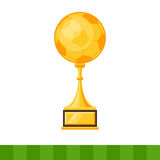 Gold Cup of the winner, soccer ball Stock Photo