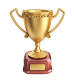 Gold cup winner trophy. 3D Icon isolated. On white background Royalty Free Stock Photos