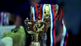 Gold cup winner. Winner trophy. Gold cup winner. Close up gold cup champion. Winning gold cup. Winner trophy stock video