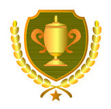 Gold Cup With Shield Royalty Free Stock Images