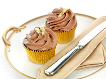 Gold Cupcakes Stock Photo