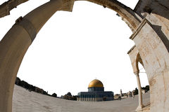Gold cupola of Jerusalem. Gold cupola of the mosque of Omar in Jerusalem Stock Photo