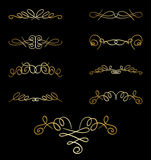 Gold curly elements on black - set - vector Royalty Free Stock Photo