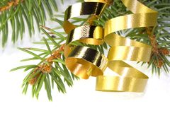 Gold curly ribbon Royalty Free Stock Photography