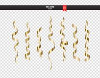 Gold curly ribbon serpentine confetti. Golden streamers set on transparent background. Colorful design decoration party Royalty Free Stock Photography