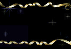 Gold curly ribbons Stock Photos