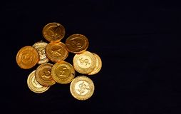 Gold Currency. Gold Coin With Many Kind of Currency Write on It royalty free stock image