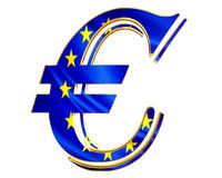 Gold currency euro symbol with the flag of the country on a white background Stock Photos