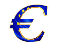 Gold currency euro symbol with the flag of the country on a white background Royalty Free Stock Images