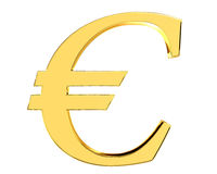 Gold currency euro symbol on white background Stock Images
