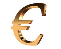 Gold currency euro symbol on white background Royalty Free Stock Photography