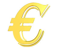 Gold currency euro symbol on white background Royalty Free Stock Images