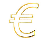 Gold currency euro symbol on white background Royalty Free Stock Image