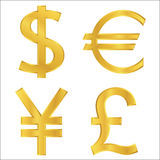 Gold Currency Symbols Royalty Free Stock Photography