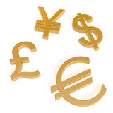 Gold currency symbols Stock Images