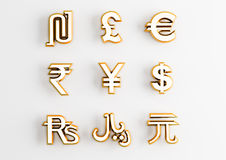Gold currency symbols Royalty Free Stock Images