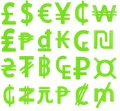 green currency symbols Stock Photography