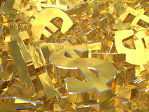 Gold currency symbols on the heap Royalty Free Stock Images