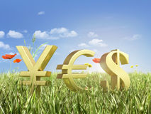 Gold currency symbols Stock Image