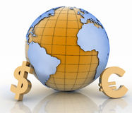 Gold currency symbols on white background. 3d globe with gold currency symbols on white background Stock Photo