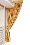 Gold curtain isolated Stock Image