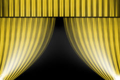 Gold curtain and light for background Stock Photo