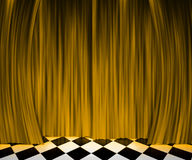 Gold Curtain Spotlight Stage Background Stock Images
