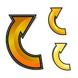 Gold curve arrow with shadow Stock Image