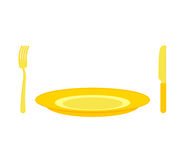 Gold cutlery: knife and fork, for rich. Expensive plate of pure Royalty Free Stock Photos