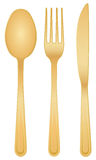 Gold cutlery set Stock Photography