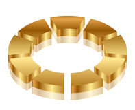 Gold cycle icon Stock Photography