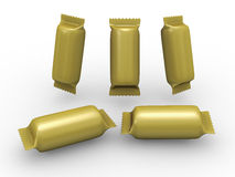 Gold cylinder wrap packet with clipping path. Blank gold cylinder wrap packet with clipping path, packaging or wrapper for cookies, biscuit, crackers, snacks or Royalty Free Stock Image