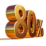 Gold 3d 80 achtzig Prozent-Rabatt-Zeichen Lizenzfreies Stockbild