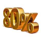 Gold 3d 80 achtzig Prozent-Rabatt-Zeichen Stockbilder