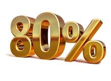 Gold 3d 80 achtzig Prozent-Rabatt-Zeichen Lizenzfreie Stockbilder